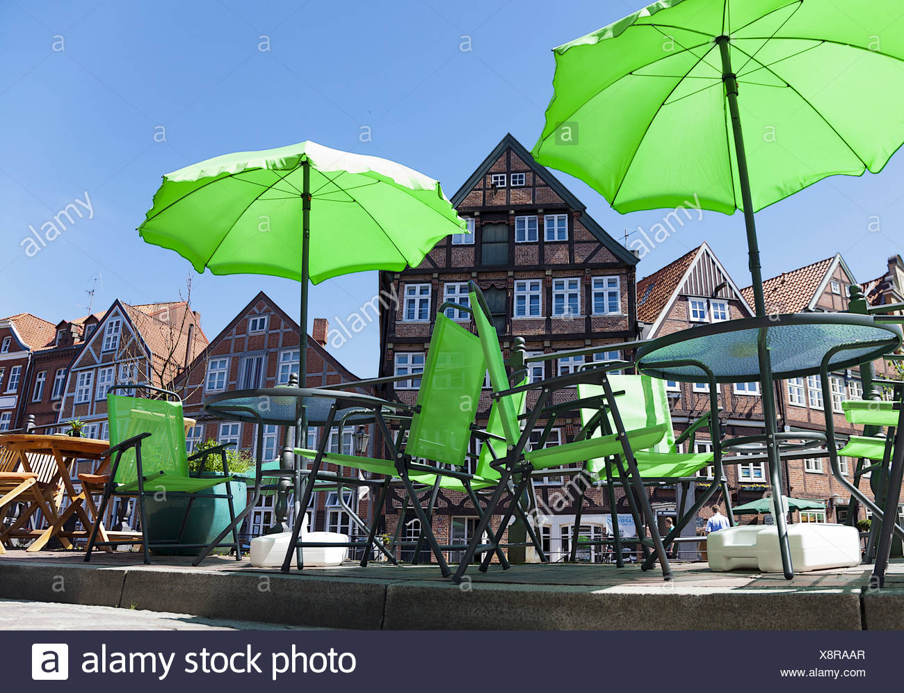 green umbrella Stock Photo