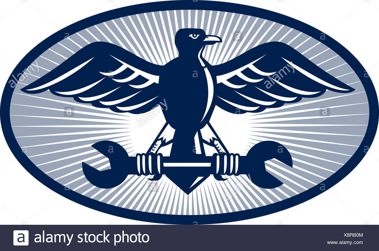 tool, bird, illustration, eagle, possession, holding, oval, wrench, spanner, - Stock Image
