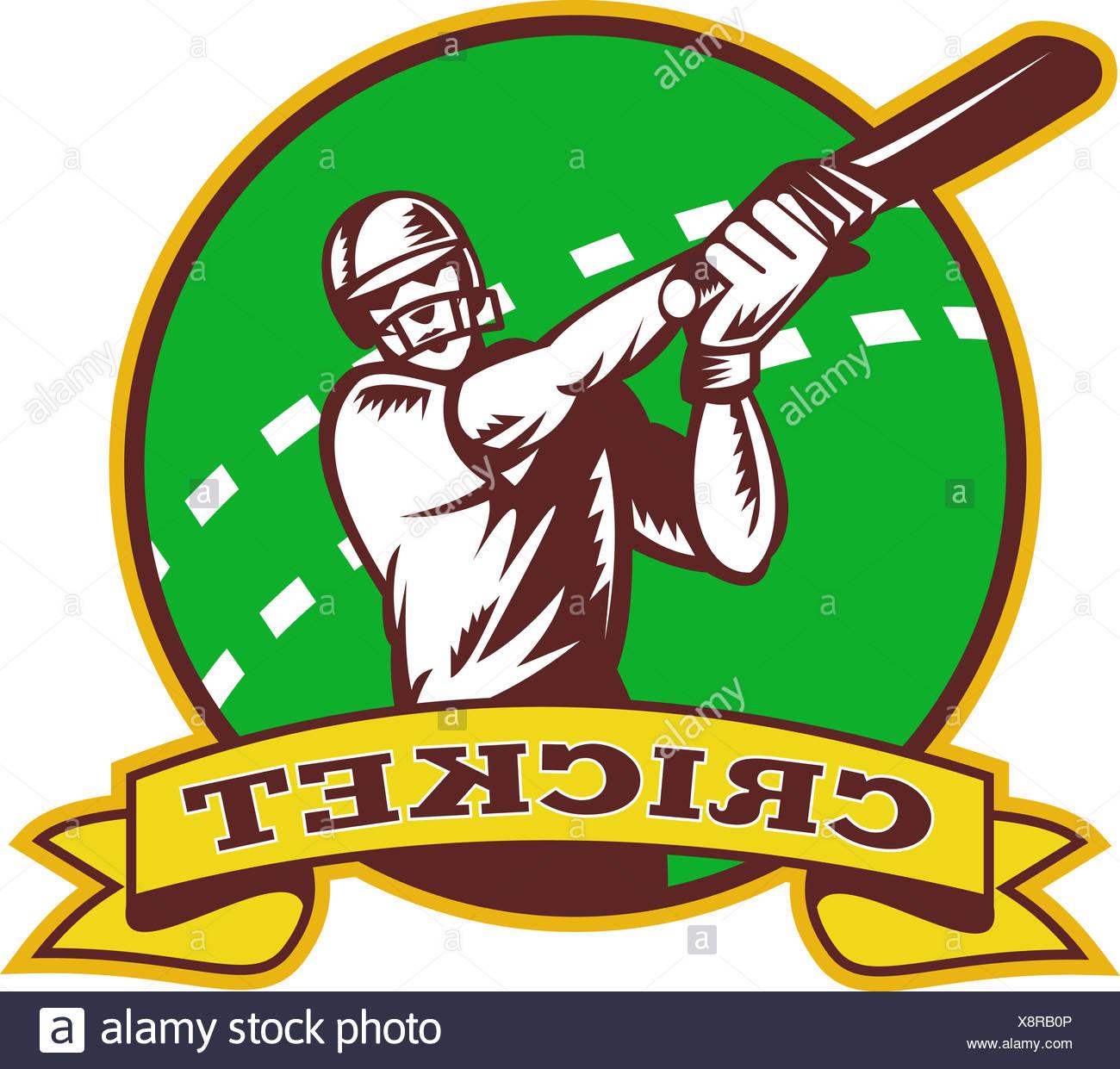 cricket batsman batting - Stock Image