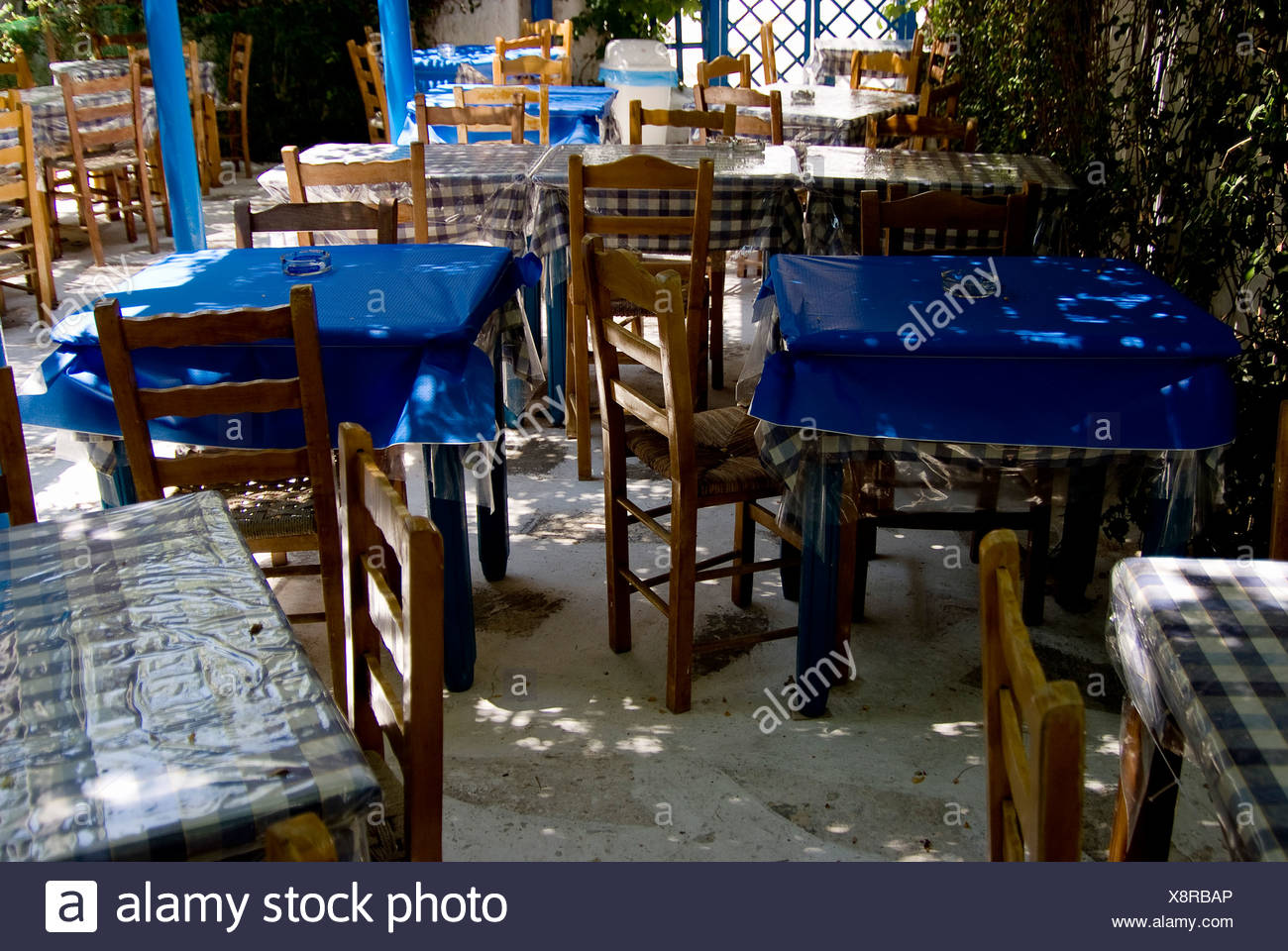 Restaurant tables on the terrace - Stock Image