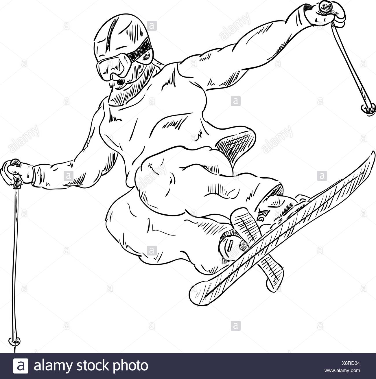 ski jump black and white stock photos images alamy Snowmobile Jump WI vector ski jump extreme with cross ski stock image