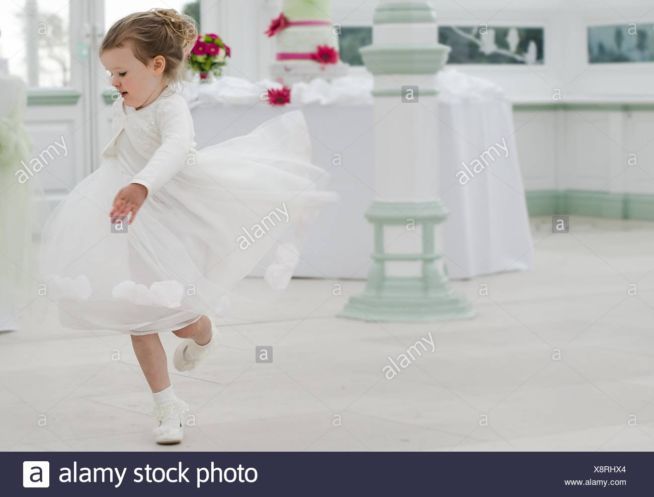 Bridesmaid dancing at a wedding - Stock Image