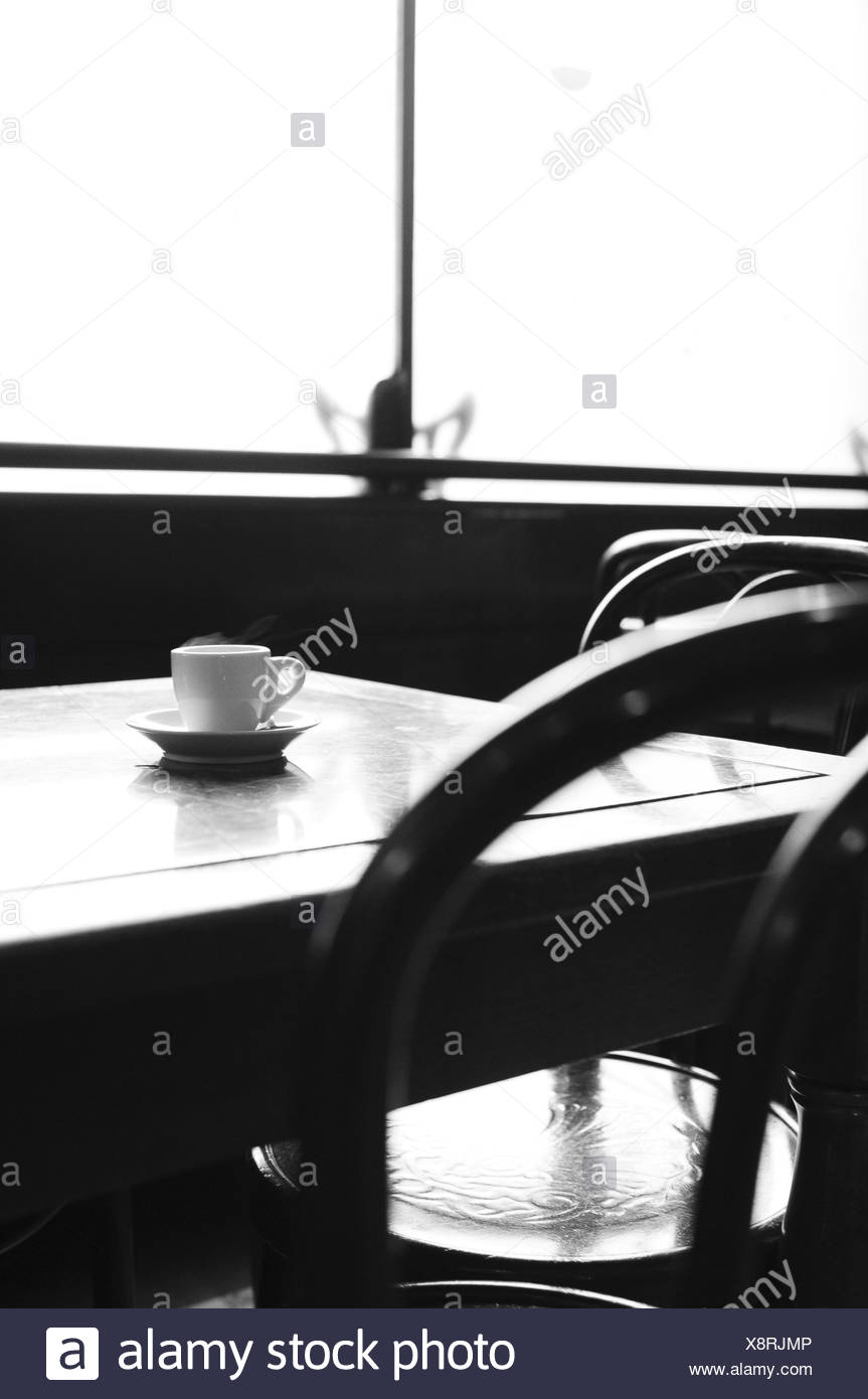 Cafe, table, cup, s/w, - Stock Image