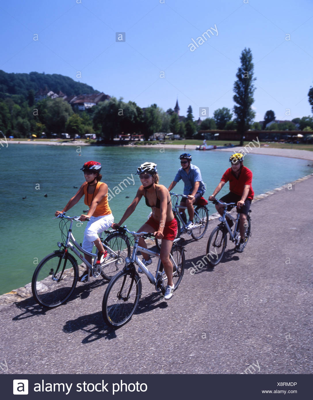 Canton Bern bicycle Bielersee Lake Biel bike canton Erlach group lake lakes scenery landscape shore spo - Stock Image