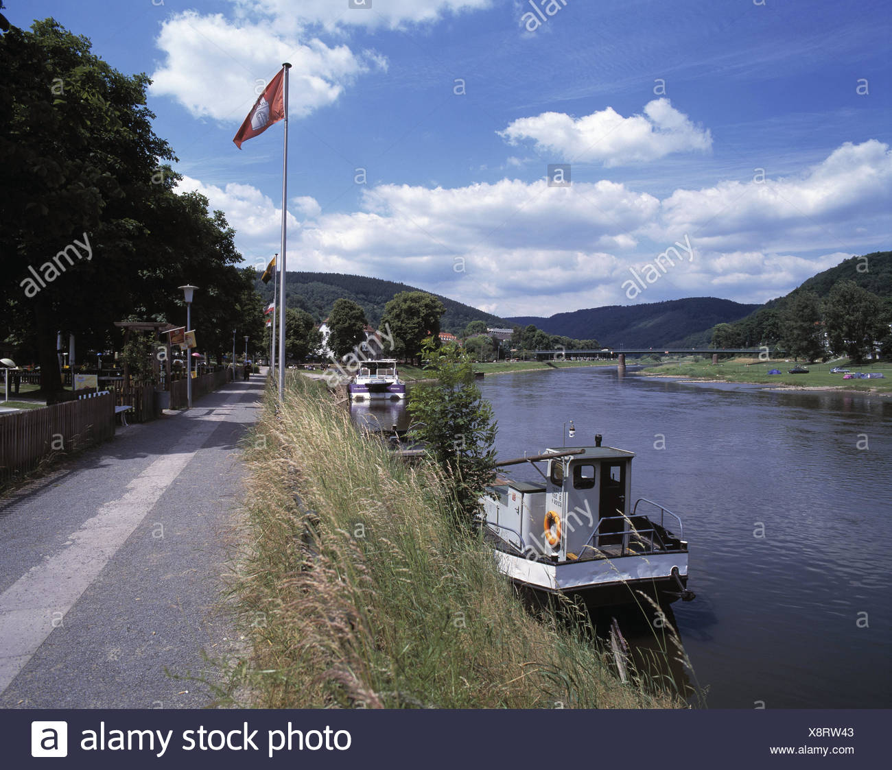 Germany,Hessen,bath Karl's harbour,the Weser,Diemel,promenade,ship dock,river,summer,scenery,nature,ships,ship investors,water,clouds,Weser scenery,Weser mountainous country,mouth area,river,rivers,confluence,bank promenade,shore, - Stock Image