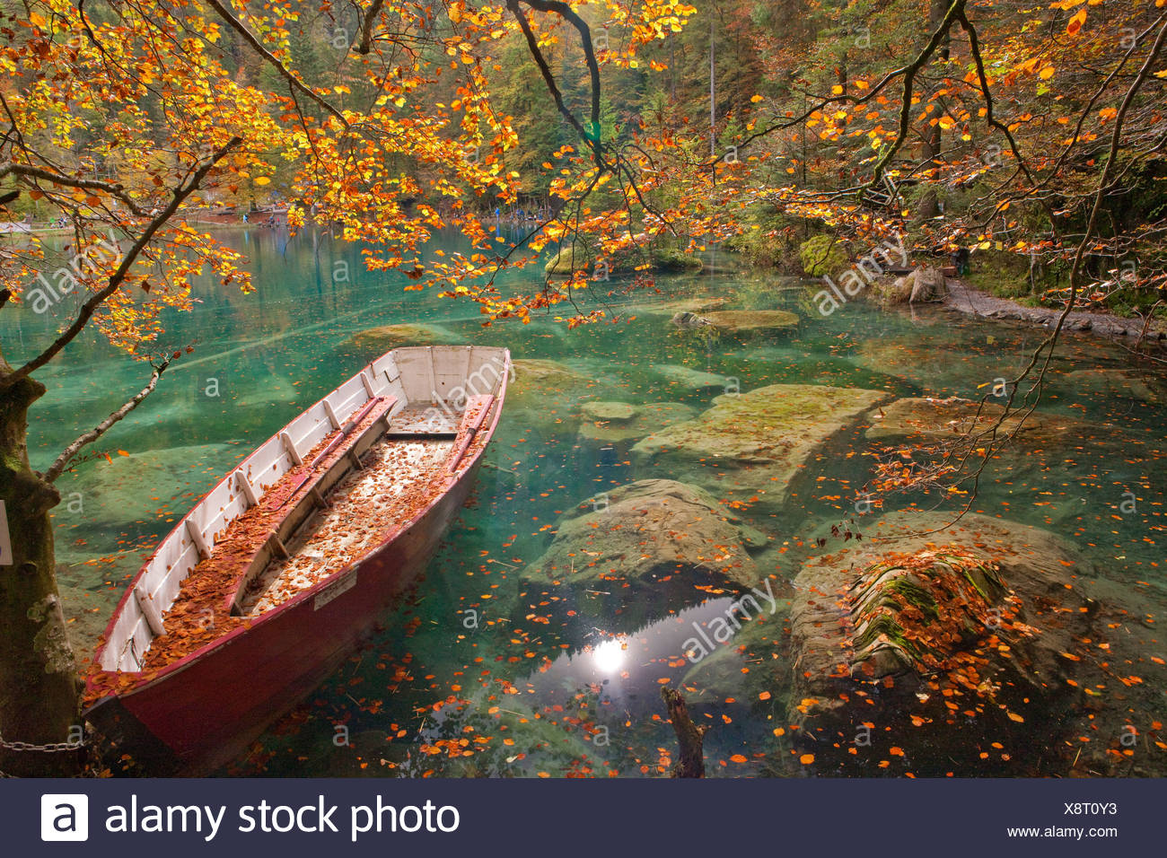 Blue lake, autumn, mountain lake, lake, autumn, ship, boat, e, lake, lakes, water, Switzerland, Europe, - Stock Image