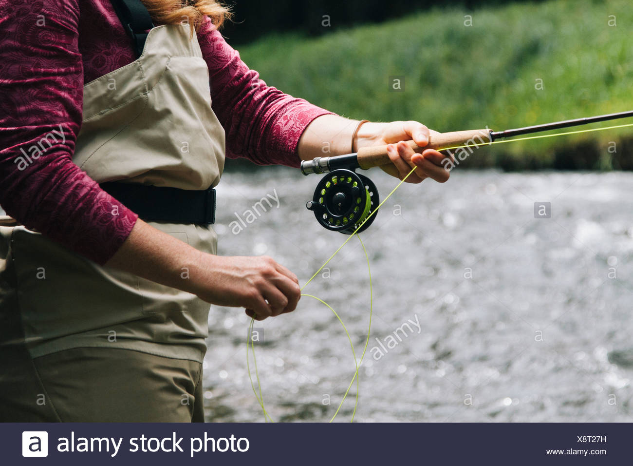 Fly fishing Oregon. - Stock Image