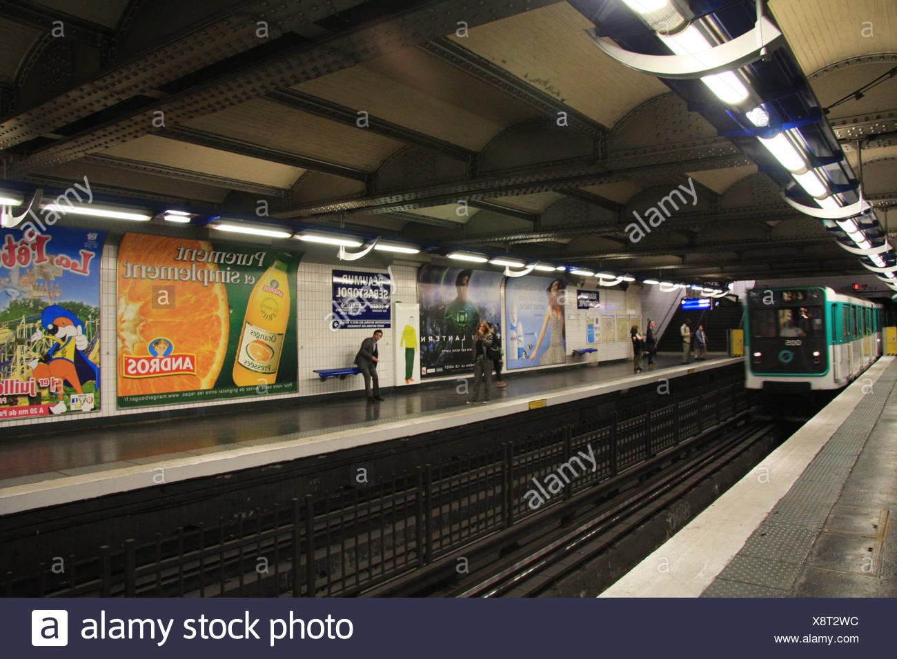 Paris, metro, subway, underground, Reaumur Sebastopol, train, entrance, transport, publicly, - Stock Image