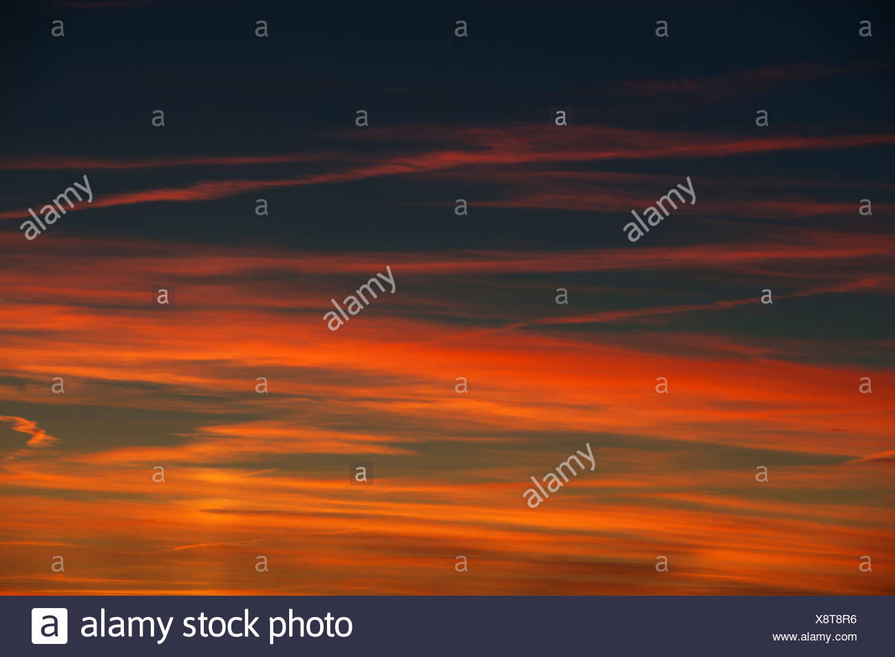 afterglow, sunset glow, red sunset, red evening sky, Emmental, empyrean, sky, canton Bern, Switzerland, sunset, sundown - Stock Image
