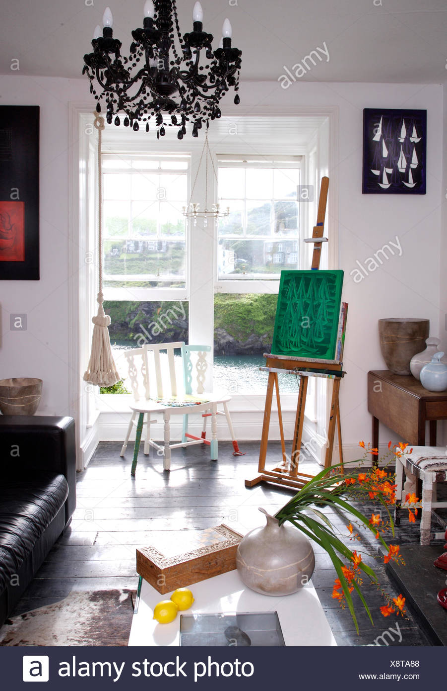 Artist S Easel Beside Open Windows With A View Of A Cornish