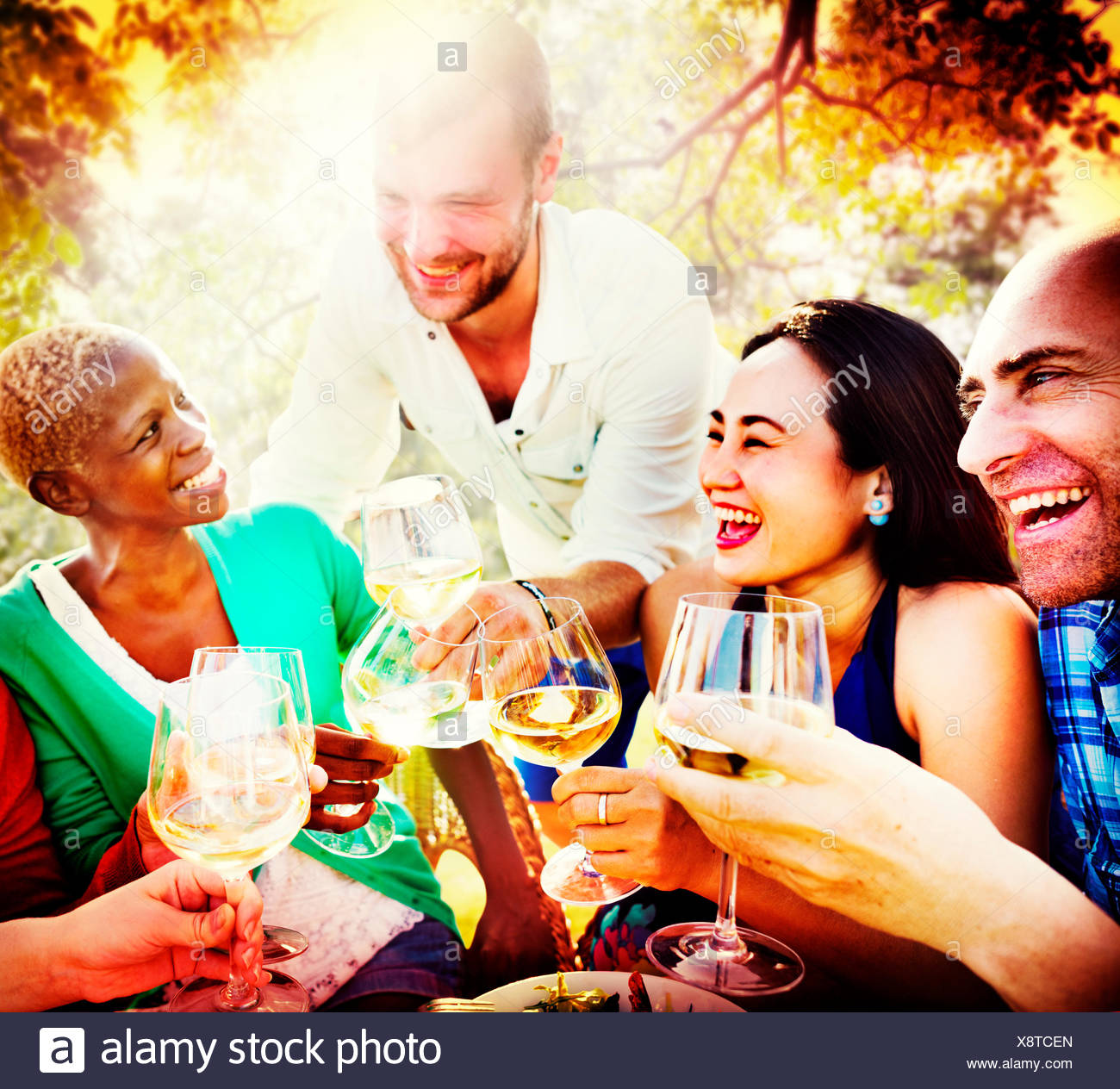 Friends Friendship Outdoor Chilling Togetherness Concept - Stock Image