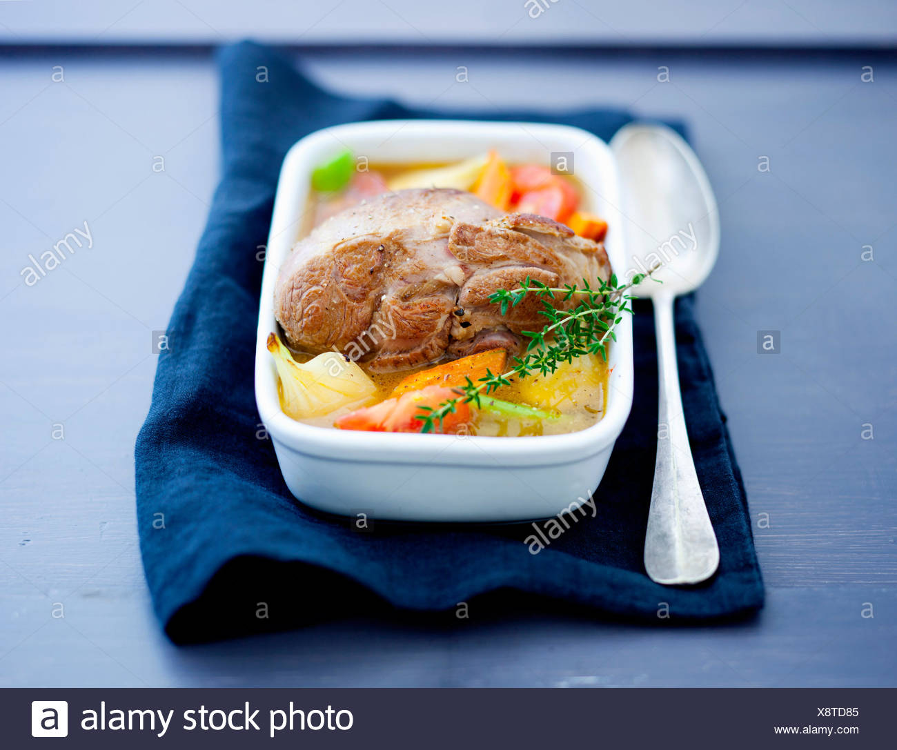Leg of lamb with vegetables - Stock Image