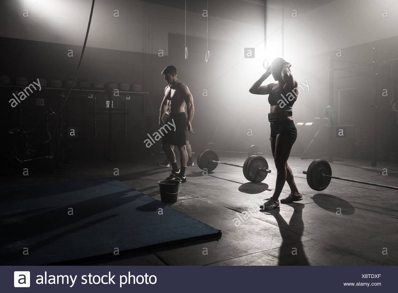 Group of people working out in gym Stock Photo