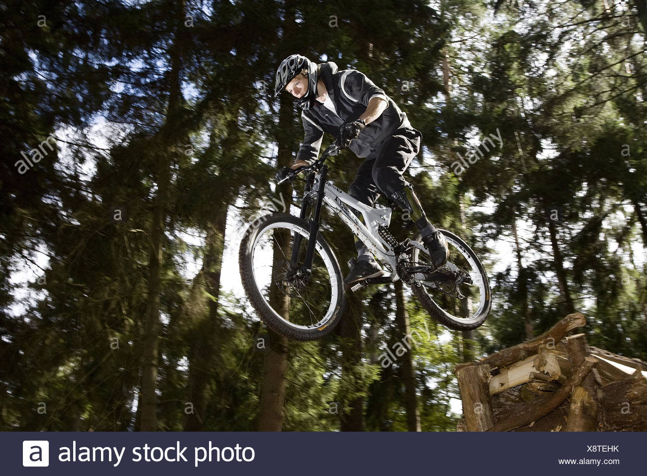 Forest, mountain biker, jump, from below, Stock Photo
