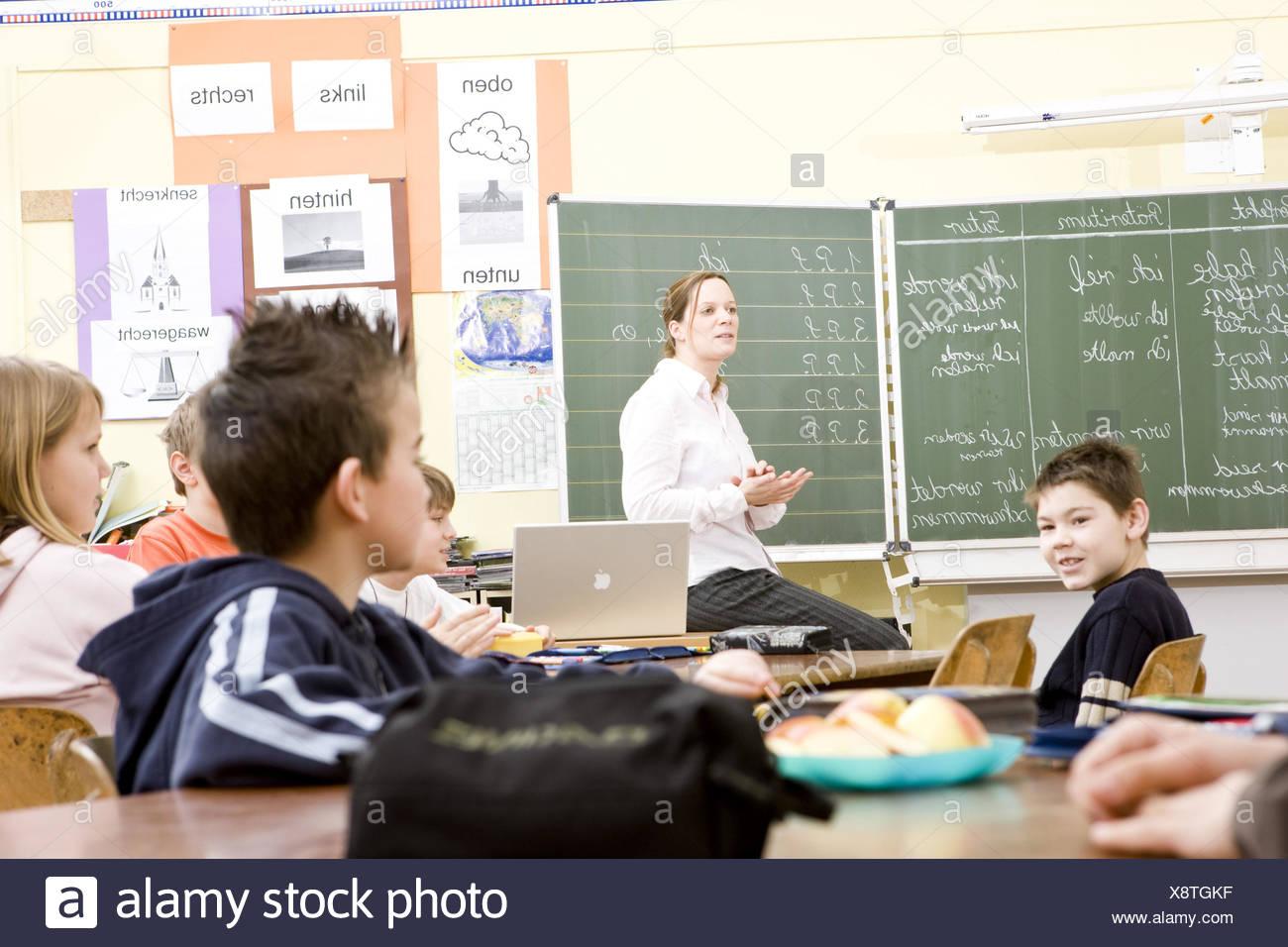 Classroom, teacher, schoolboy, lessons, - Stock Image