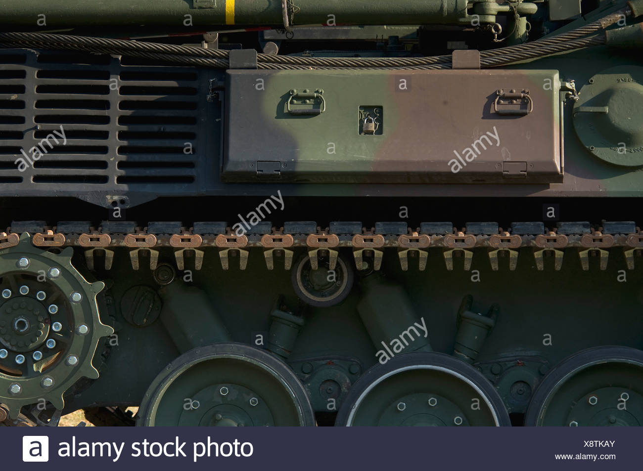 Bundeswehr, federal army, tank, detail of drive chain, PublicGround - Stock Image