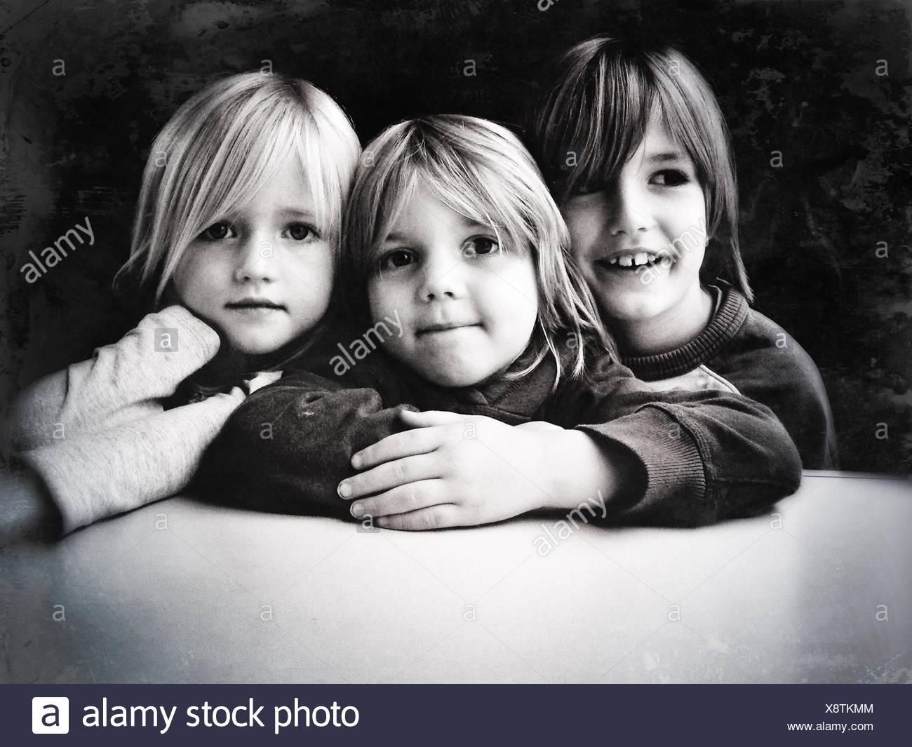 Portrait Of Siblings - Stock Image