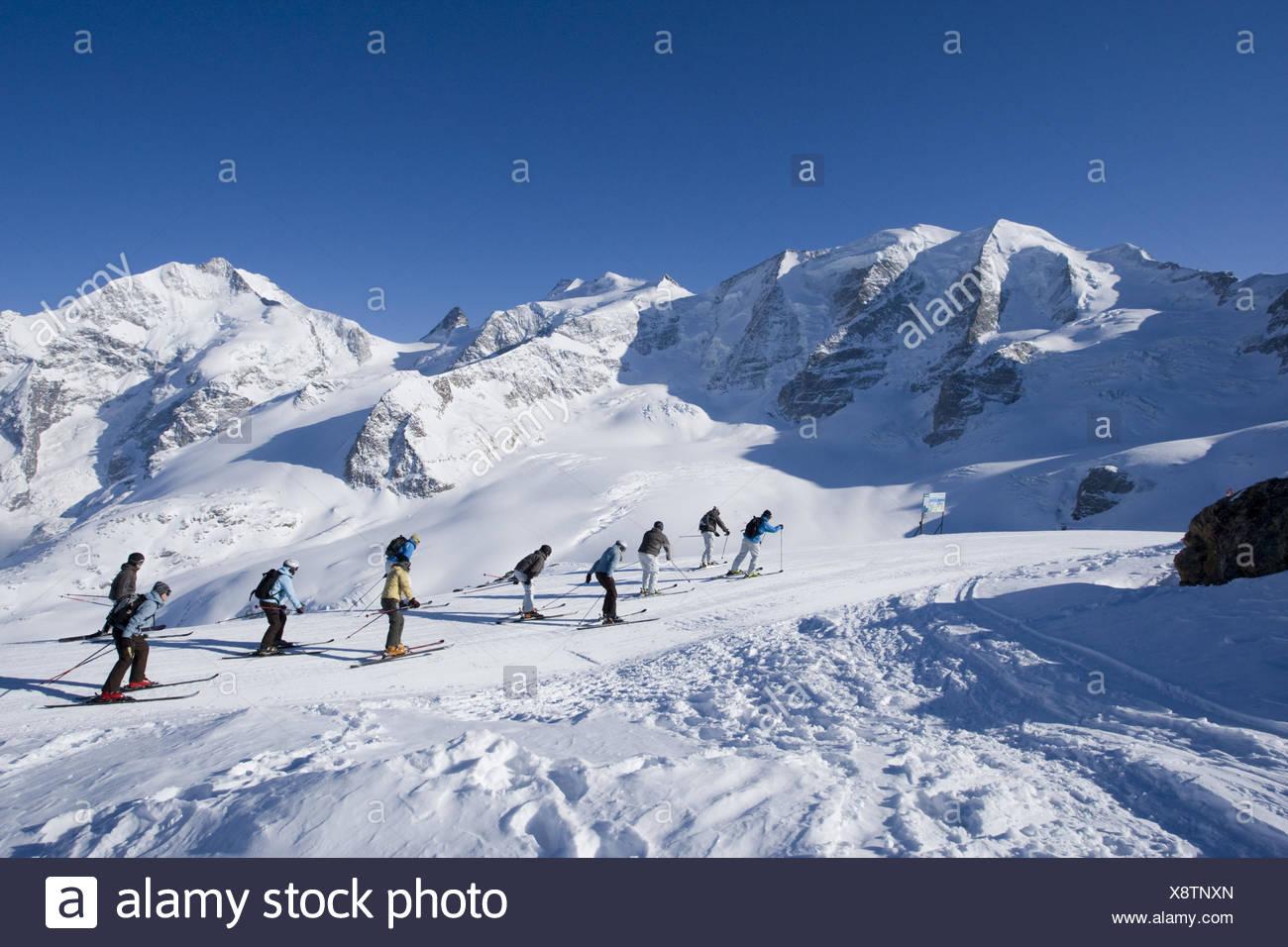 Switzerland, the Engadine, Bernina group, Diavolezza, skiing area, runway, increase, skier, - Stock Image