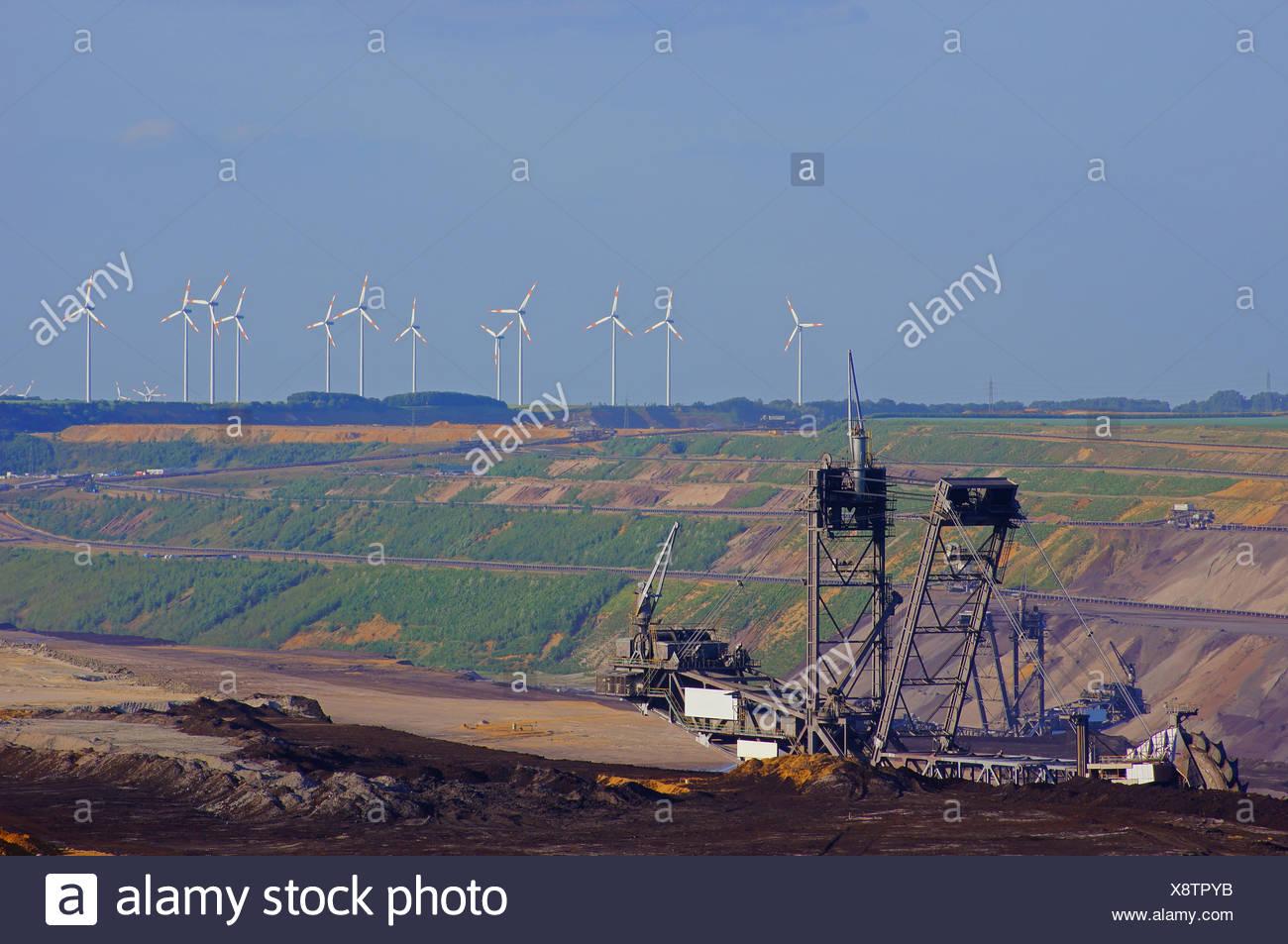 opencast,mining,wind turbines - Stock Image