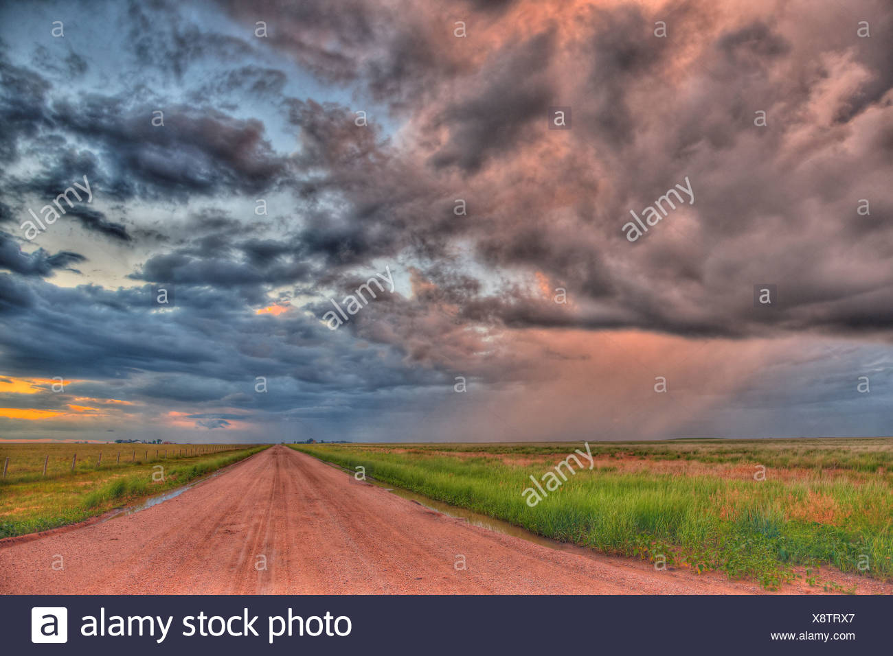 Country Dirt Road Storm High Dynamic Range Image - Stock Image
