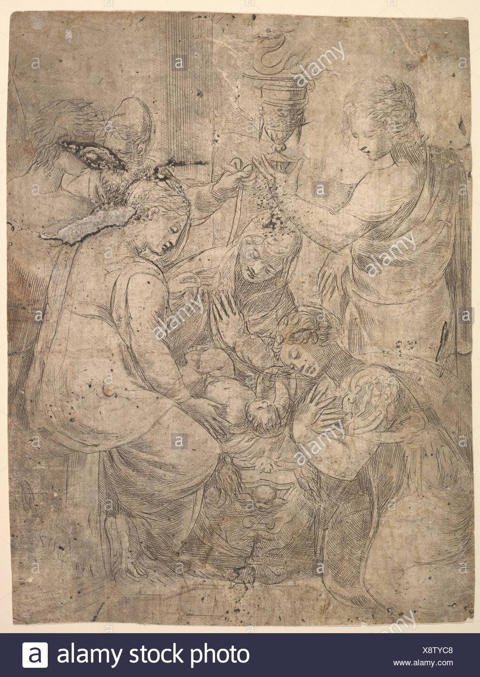 The Christ Child in the Cradle surrounded by adoring figures. Artist: Andrea Schiavone (Andrea Meldola) (Italian, Zadar (Zara) ca. 1510?-1563 - Stock Image