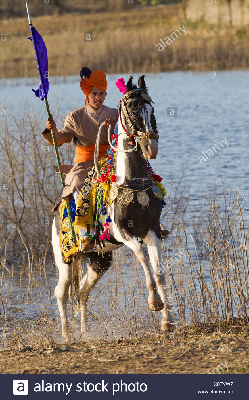 Lance-bearing cavalryman skewbald horse galloping out from water - Stock Image