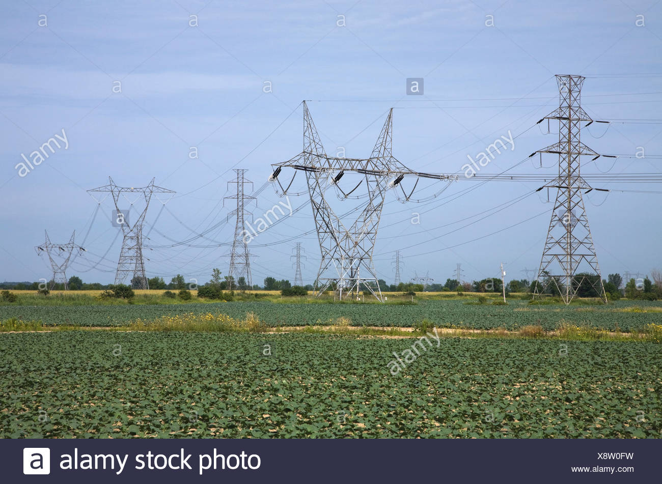 Hydro Electricity Transmission Towers; Laval, Quebec, Canada - Stock Image
