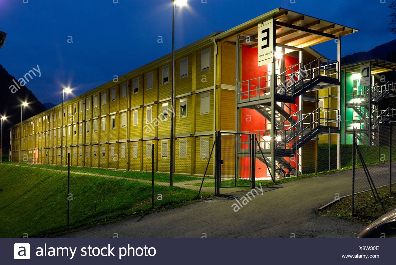 Alp transit, NEAT, tunnel construction, Ticino, barracks, lodgings, at night, Switzerland, Ticino, - Stock Image