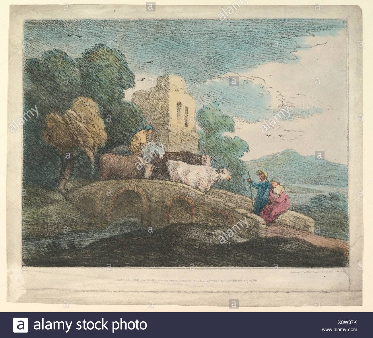 Wooded Landscape with Herdsmen Driving Cattle over a Bridge, Rustic Lovers and Ruined Castle. Artist: Thomas Gainsborough (British, Sudbury 1727-1788 - Stock Image