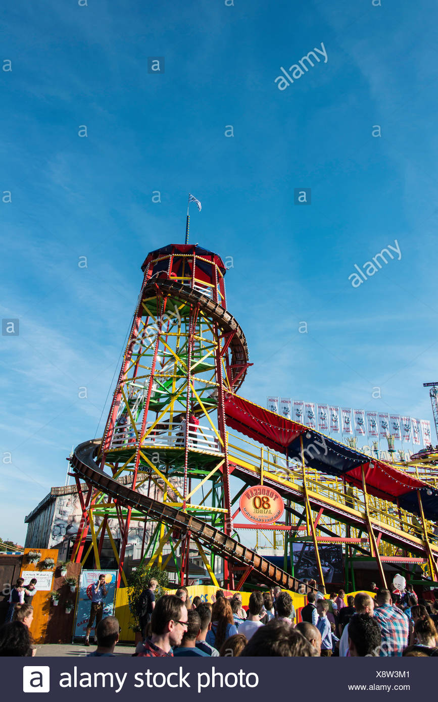 Toboggan Slide, funride, Oktoberfest, Munich, Upper Bavaria, Bavaria, Germany - Stock Image