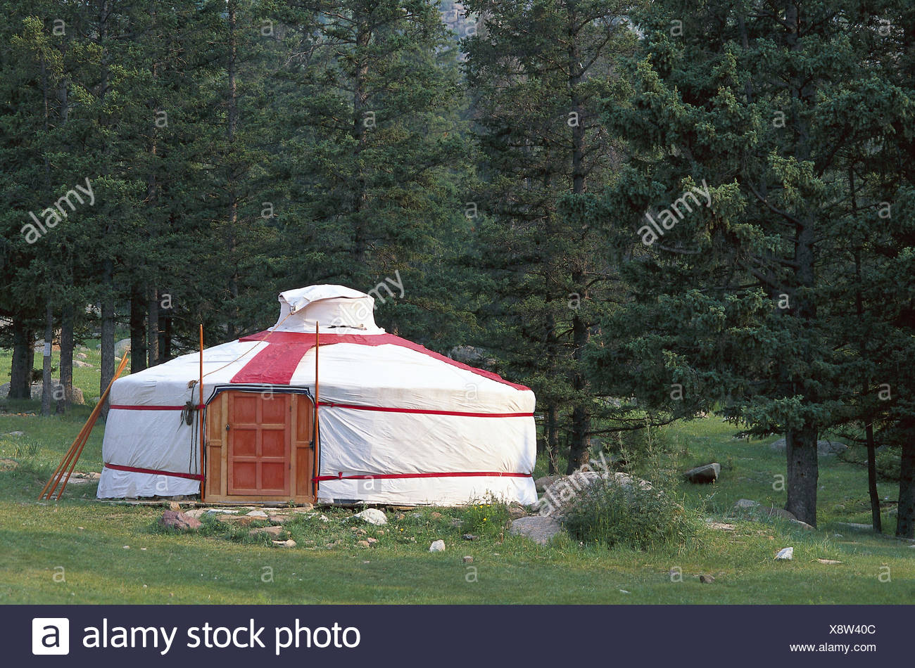Mongolia, province of Tov, cloister of Manshir, edge of the forest, Jurte Central Asia, wood, Ger, tent, round tent, residential tent, nomad's tent, dwelling, typically, tradition, conception, nomad, living conditions, simply, simply, seclusion, rest, silence, Idyll - Stock Image