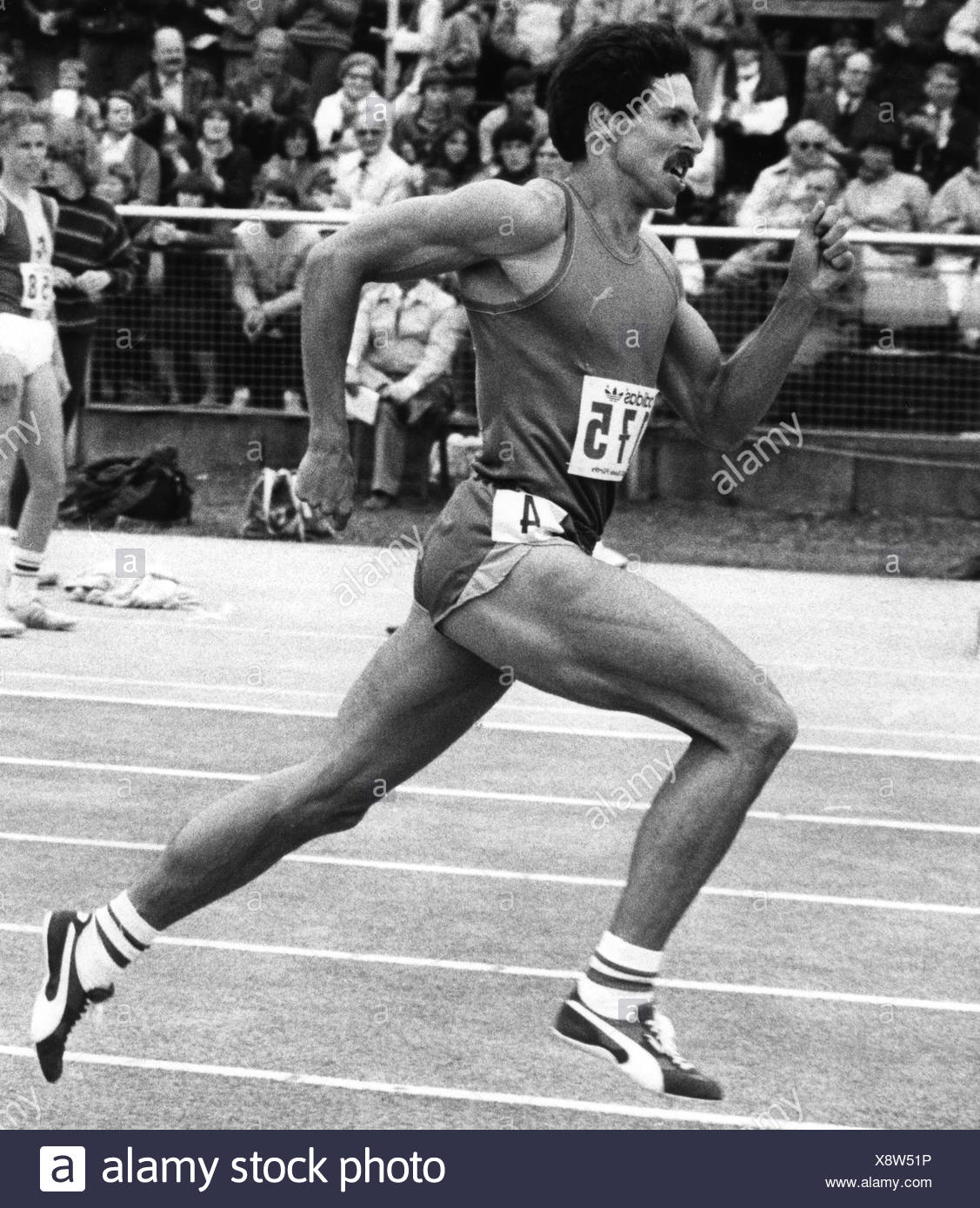 Schmid, Harald, * 29.9.1957, German athlete, during tournament, running, 1986, Additional-Rights-Clearances-NA - Stock Image
