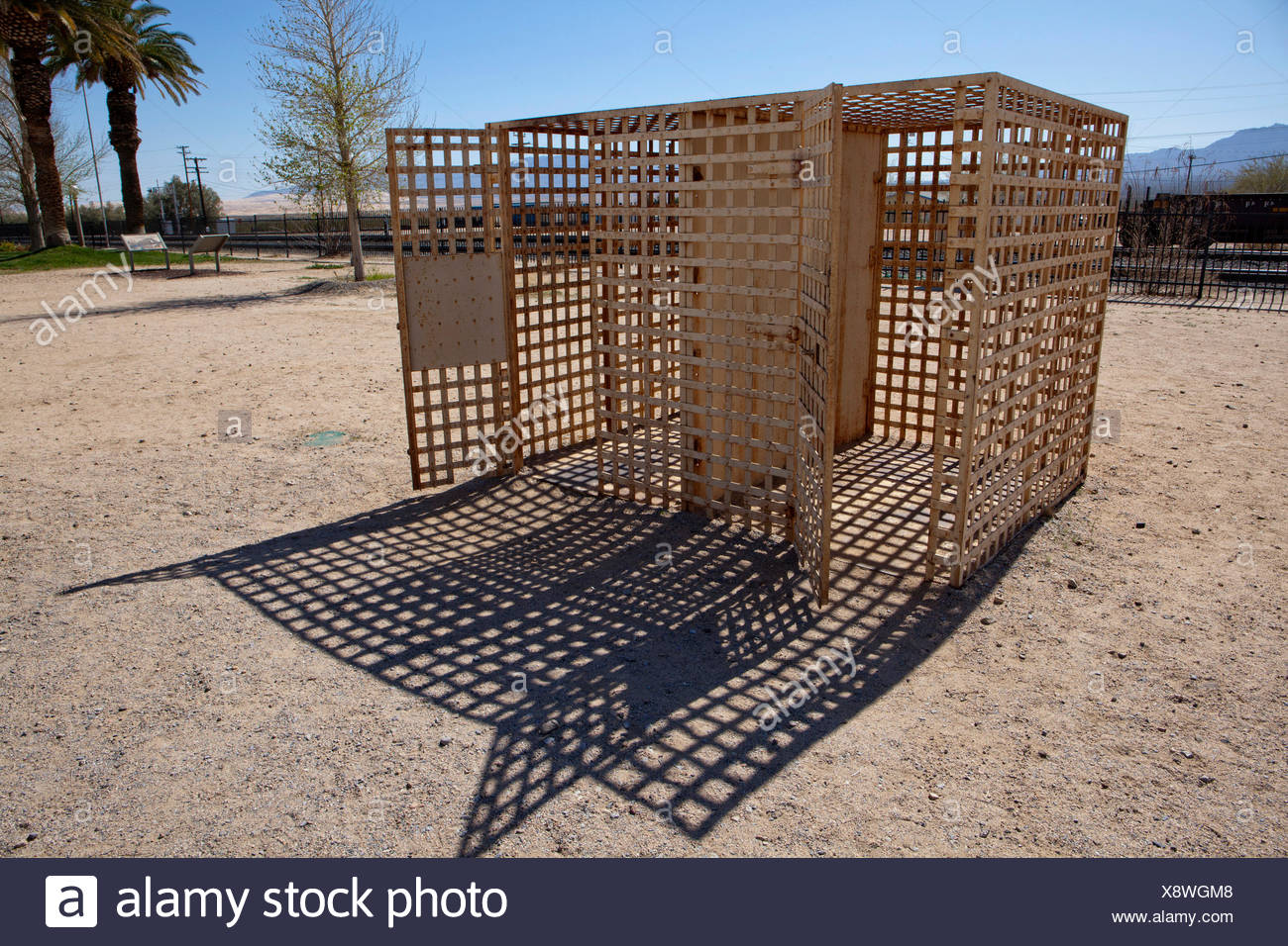 Former outdoor jail cells at the historic Kelso Train Station in Mojave National Preserve, California. Stock Photo