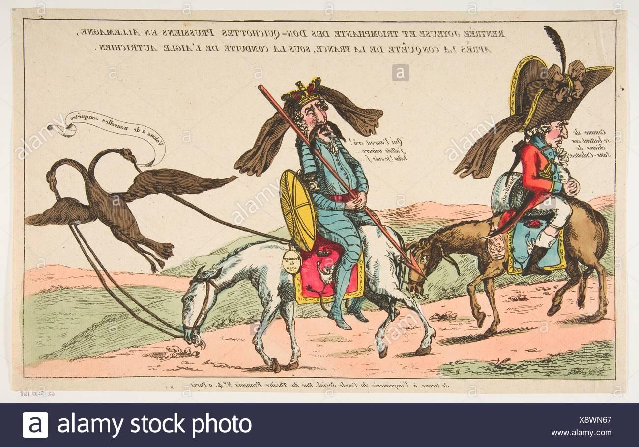 Rentrée joyeuse et triomphale des Don-Quichottes Prussiens en Allemagne, après la conquête de la France, sous conduite de l'Aigle autrichien (The - Stock Image