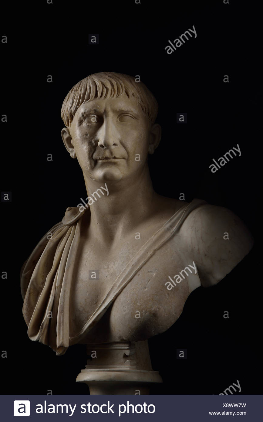 A bust of Trajan, who ruled from A.D. 98 until 117, expanding the Roman Empire to its farthest boundaries. - Stock Image