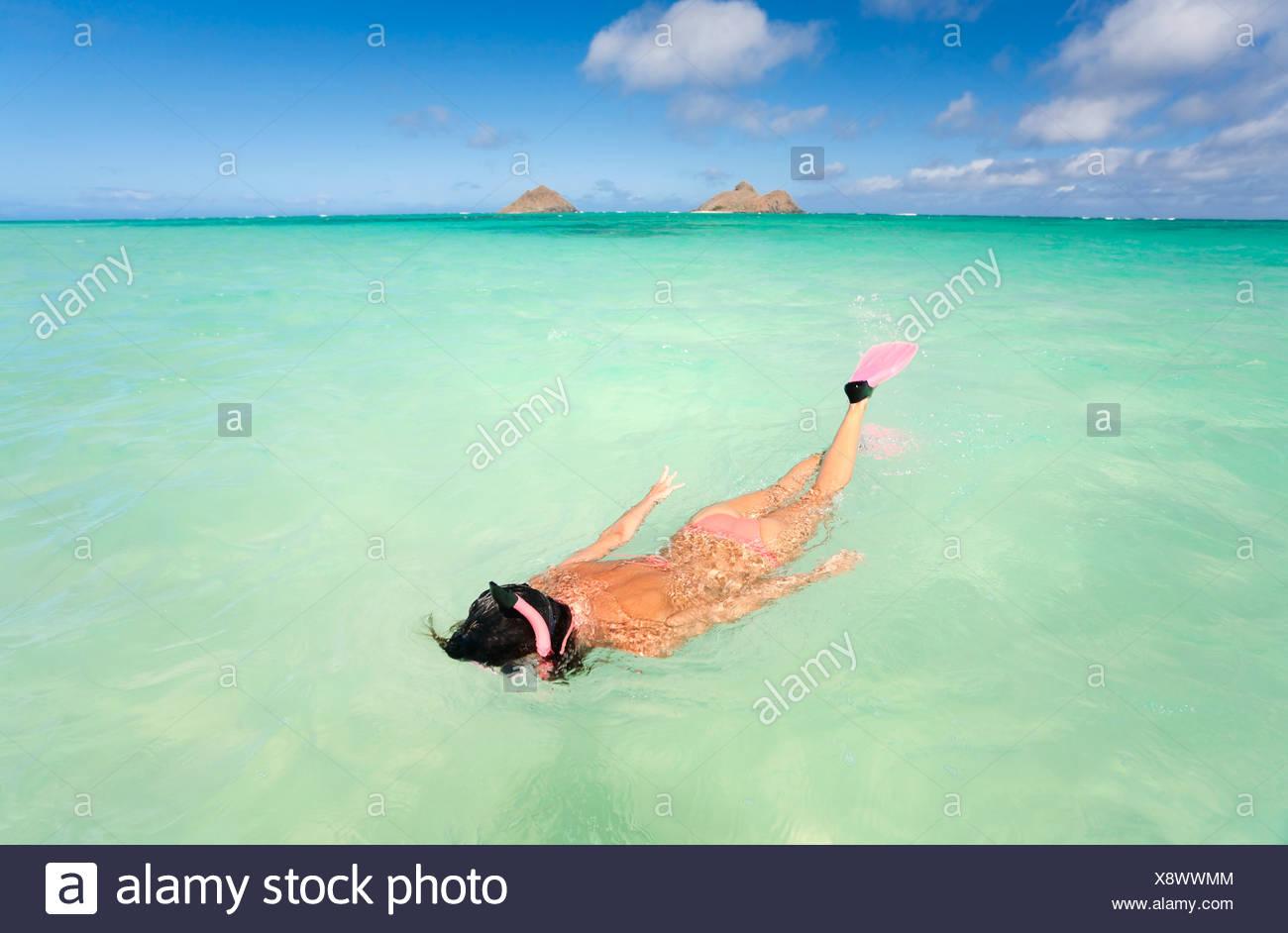 Hawaii Oahu Lanikai Beach Woman Snorkeling In Turquoise