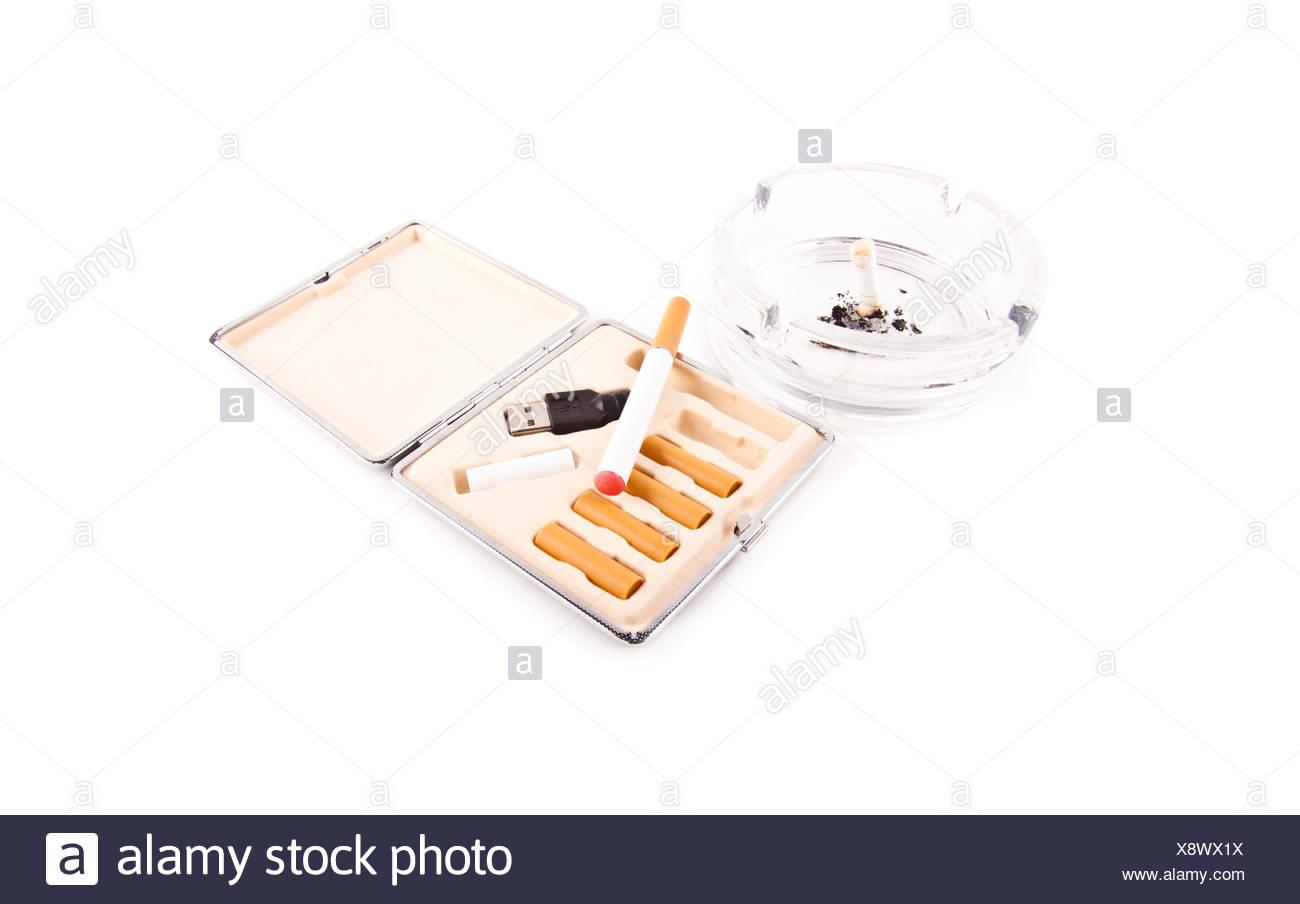 electric cigarette and a real cigarette concept Stock Photo