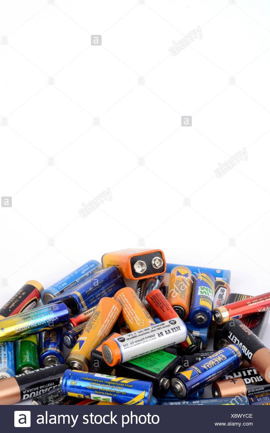 Old batteries, hazardous waste - Stock Image