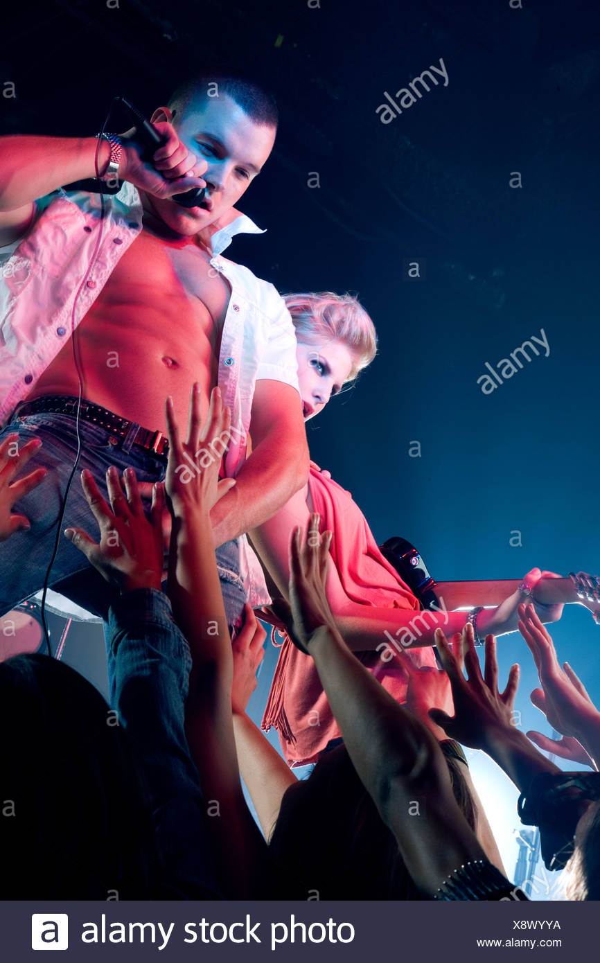 A pop group performing Stock Photo