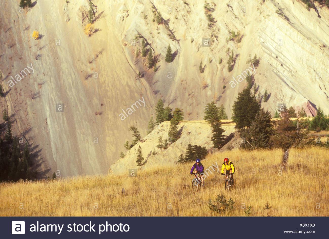 Mountain biking at Wigwam Flats near Fernie, British Columbia, Canada. - Stock Image
