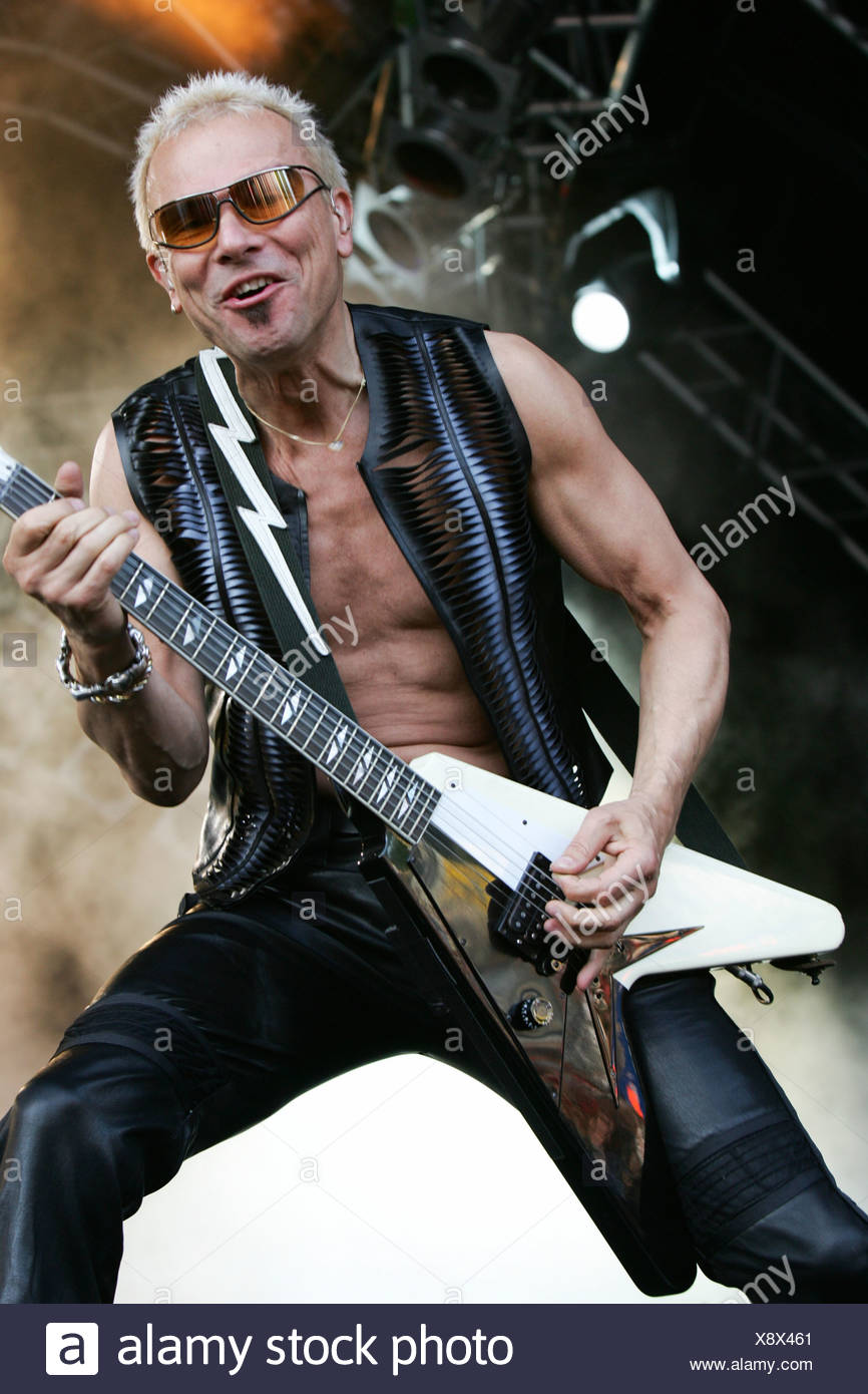 Rudolf Schenker, guitarist of the German band Scorpions, live at the Spirit of Music Open Air in the Uster football stadium nea - Stock Image
