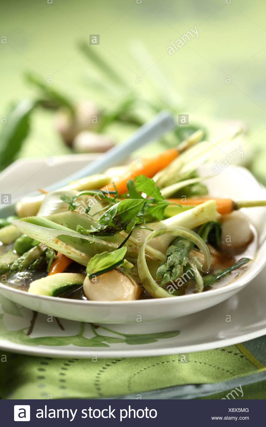 Vegetables simmered with olive oil and herbs Stock Photo