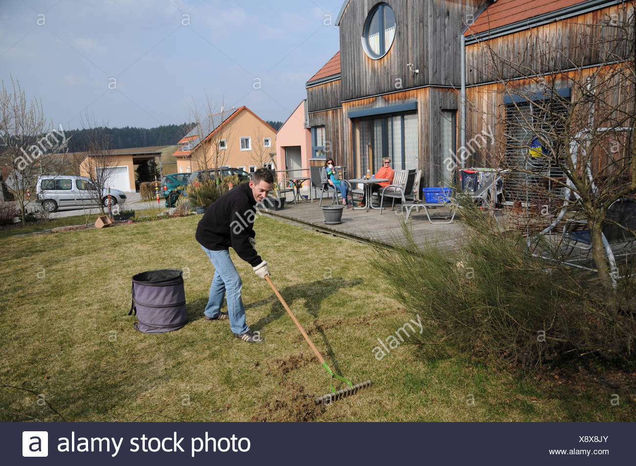 Lawn scarification - Stock Image
