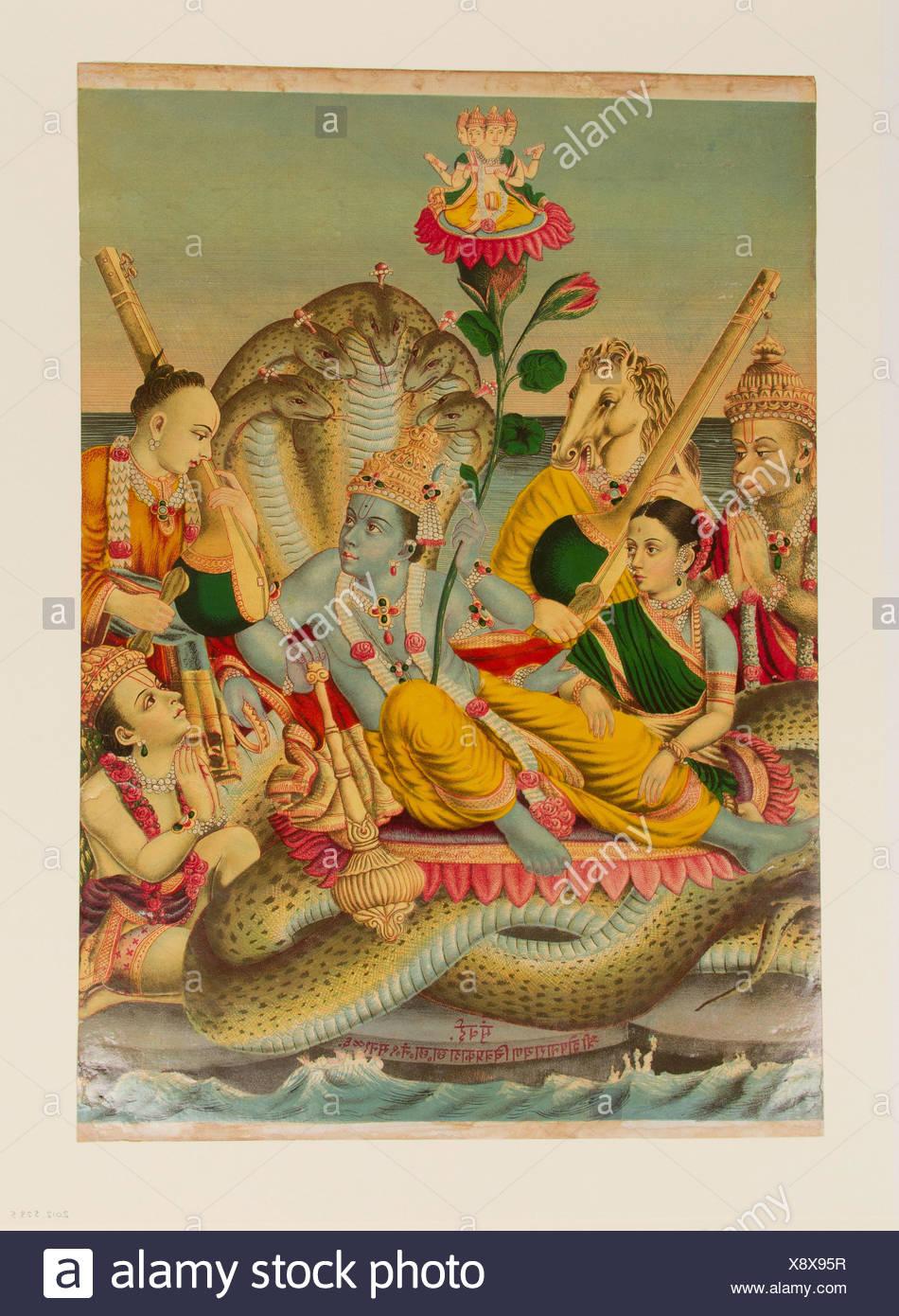 Shri Sheshanarayana, Vishnu Narayana on Shesha. Date: 1886; Culture: India; Medium: Chromolithographic print on paper; Dimensions: Image: 19 1/8 x 14 - Stock Image