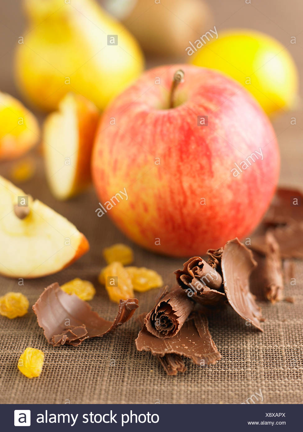 Chocolate flakes with fruit - Stock Image