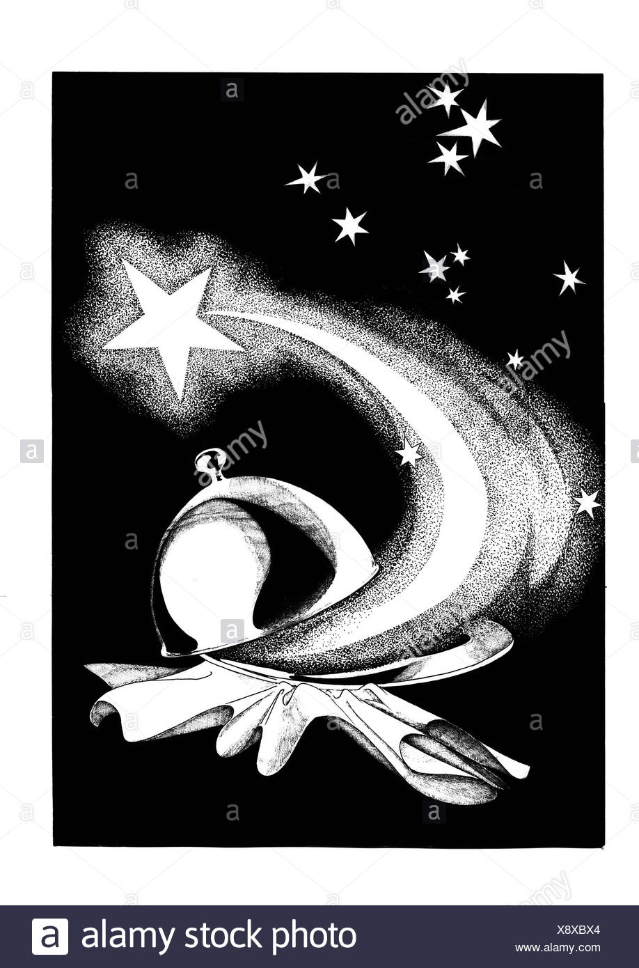 Star of Bethlehem with cloche and small stars - Stock Image