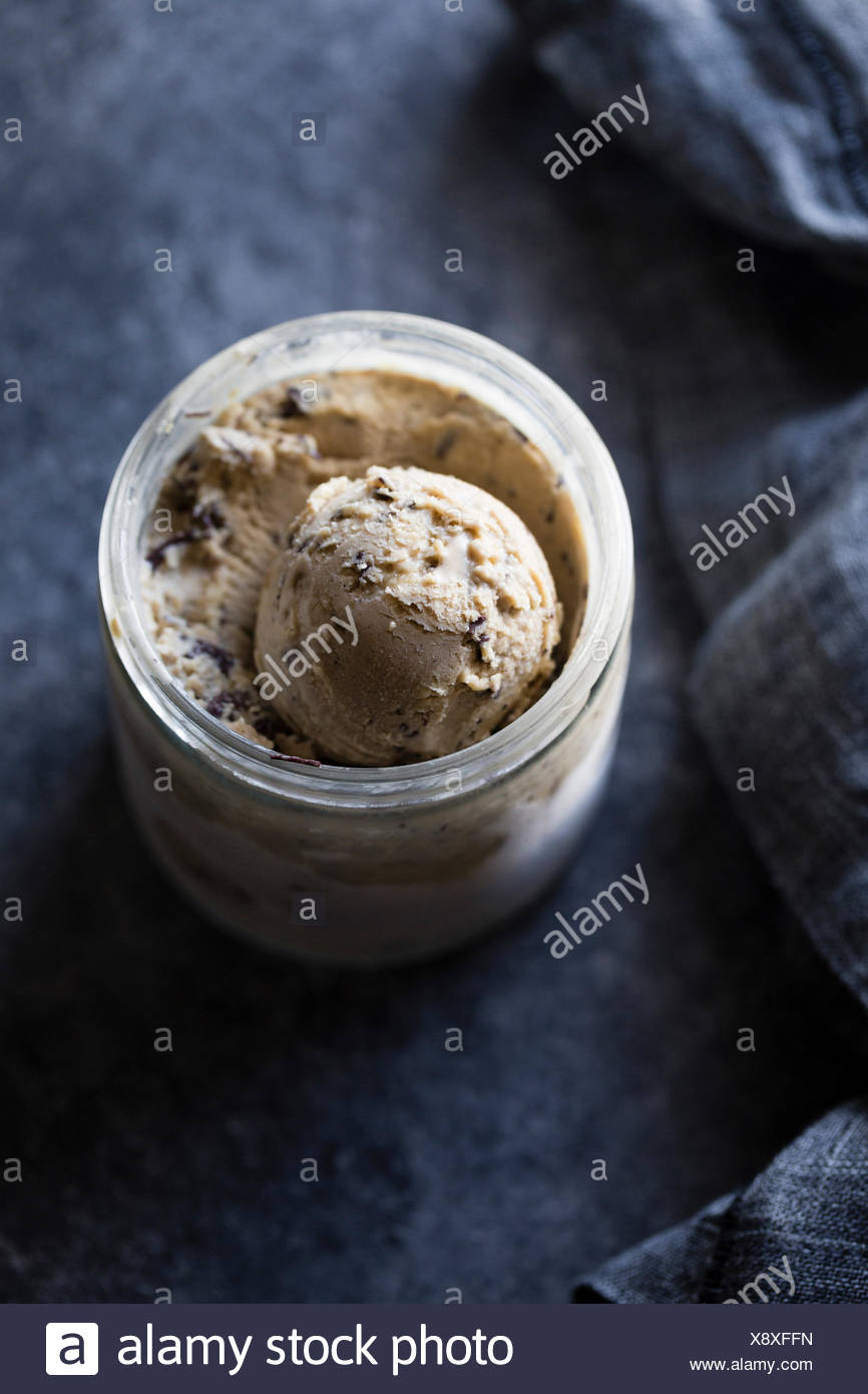 coffee halva chocolate chip ice cream - Stock Image
