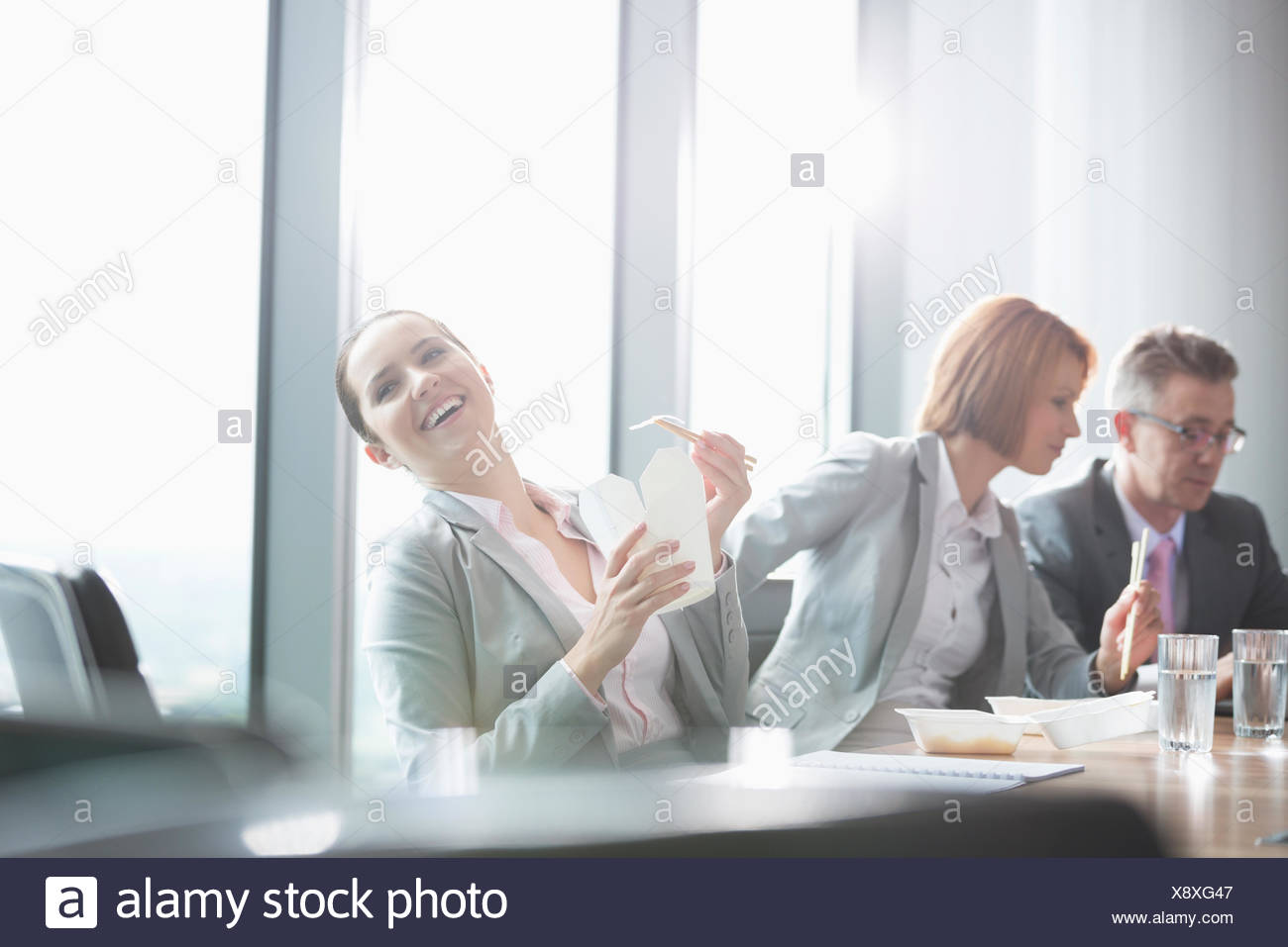 Business people on lunch break - Stock Image