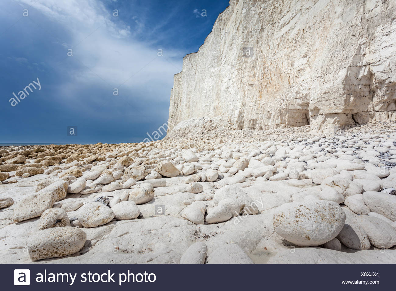 geography / travel, Great Britain, England, chalk cliff Seven Sisters near Birling Cap, East Sussex, Additional-Rights-Clearance-Info-Not-Available - Stock Image