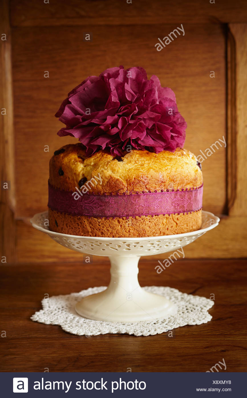 Panettone cake with cranberries on cake stand - Stock Image